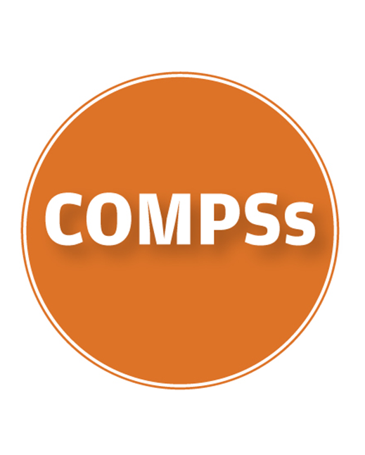 compss logo in white laid in an orange circle