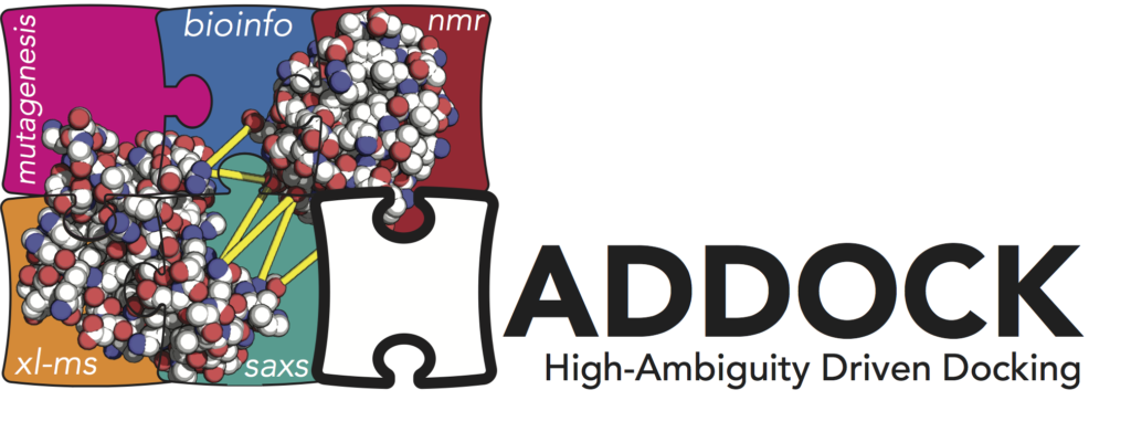 HADDOCK logo - High ambiguity driven docking. next to the haddock logo are 5 attached squares with molecules