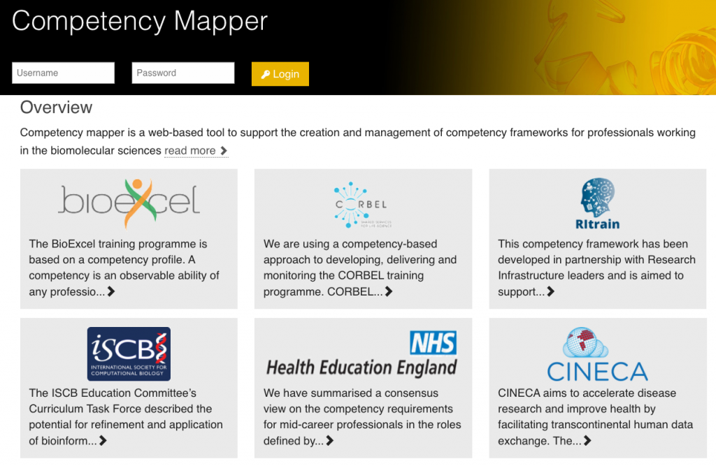 Competency mapper website showcasing projects