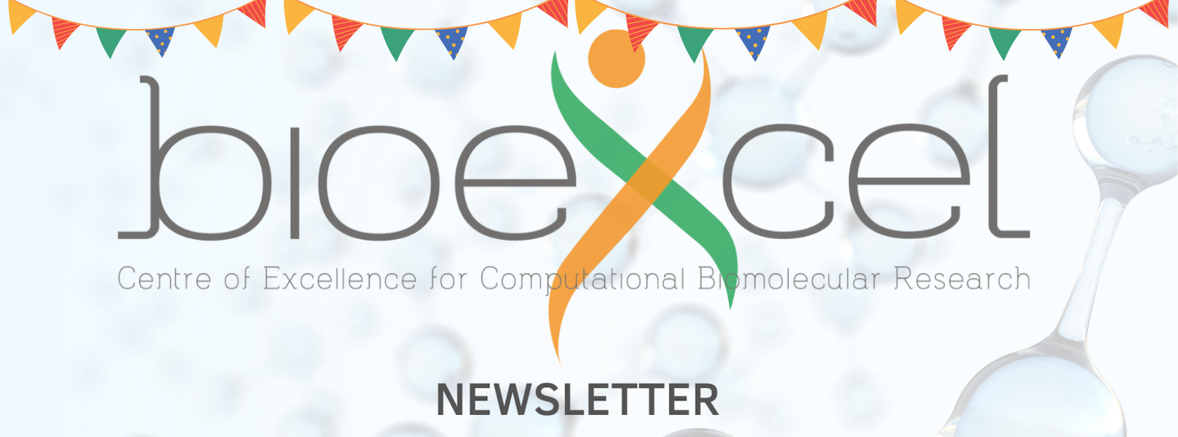 BioExcel newsletter header with colourful streamers on the top