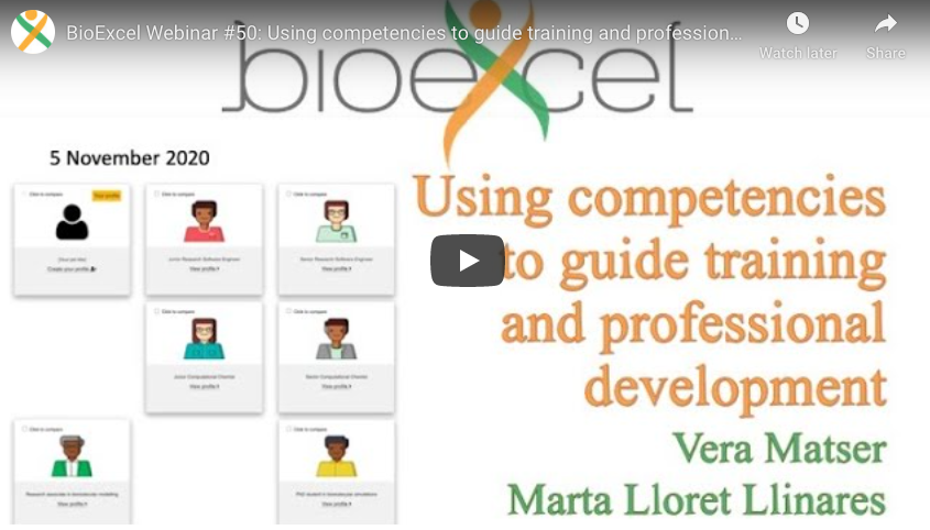 BioExcel webinar on using competencies to guide training and professional development delivered by vera Matser and Marta Llinares