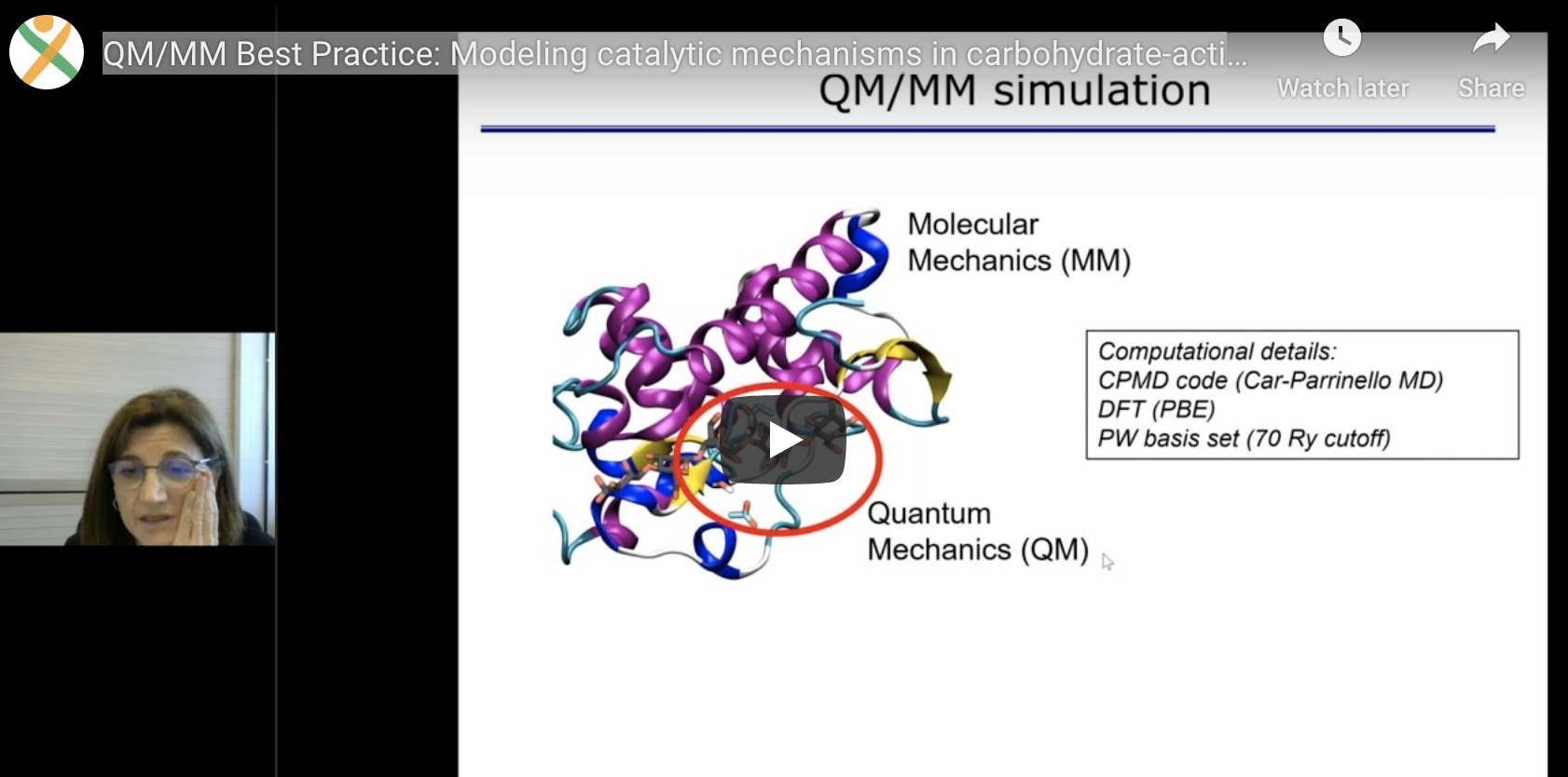 woman on the left and slide of her talk displaying QM/MM simulation on the right