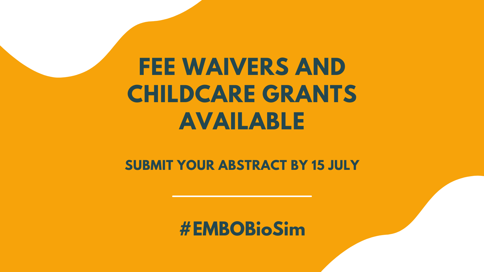 Fee Waivers and childcare grants available. Submit your abstract by 15 July. #EMBOBioSim