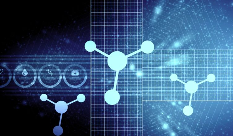 Light blue connected molecules against a dark blue background