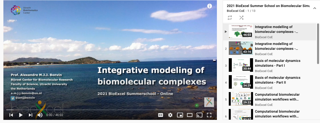 Youtube playlist of lectures from the BioExcel Summer School